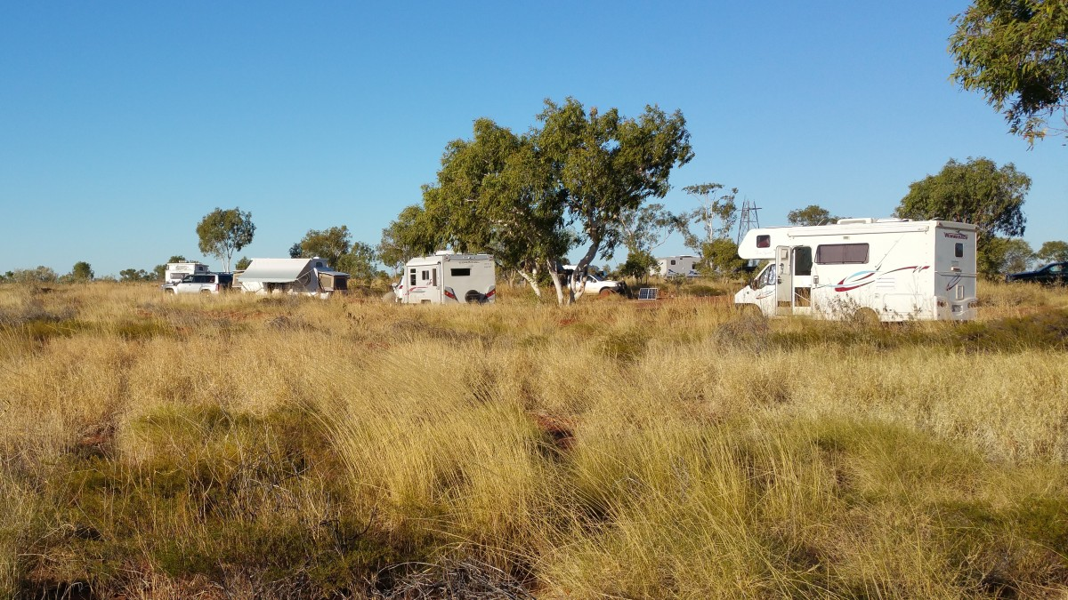 Free camping NT style is done at a rest area. There is lots of company!
