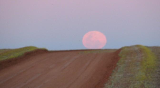 Moon over moon plain